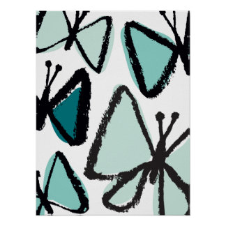 Impressão das borboletas do Brushstroke