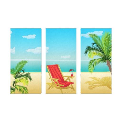 Impressão das canvas da fuga do paraíso da praia impressão de canvas esticada
