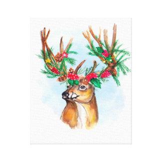 Impressão das canvas da rena do Natal da aguarela