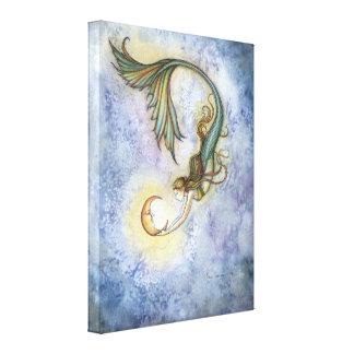 Impressão das canvas da sereia da lua do mar profu