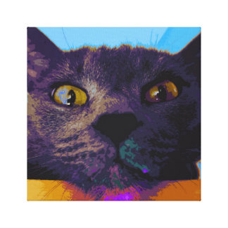 Impressão das canvas de pop art da cara do gato