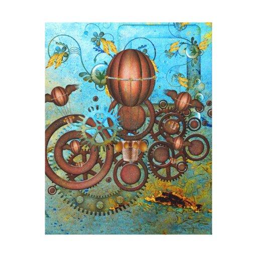 Impressão das canvas do Aqua & do cobre da colagem Impressão De Canvas Esticadas