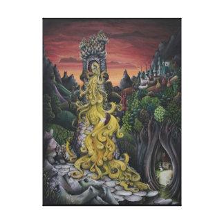 Impressão das canvas do conto de fadas de Rapunzel Impressão De Canvas Envolvidas