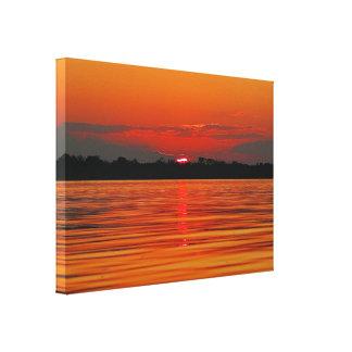 Impressão das canvas do estiramento do por do sol