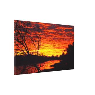 Impressão das canvas do nascer do sol do rio de