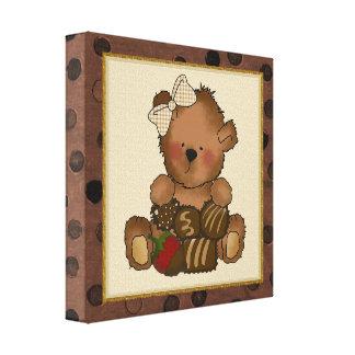 Impressão das canvas do urso de ursinho do chocola impressão de canvas envolvidas