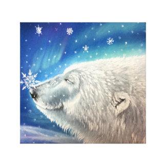 Impressão das canvas dos flocos de neve do urso