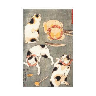 Impressão das canvas dos gatos de Kuniyoshi quatro