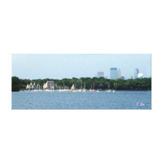 Impressão das canvas: Lago Harriet & skyline de Mi Impressão Em Canvas