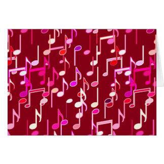 Impressão das notas musicais - Borgonha, multi Cartão De Nota