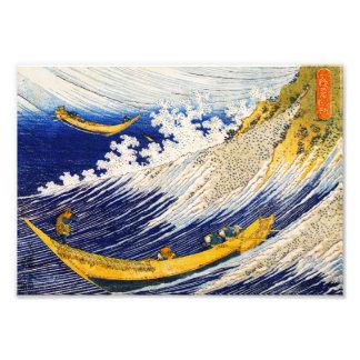 Impressão das ondas de oceano de Hokusai Fotografia