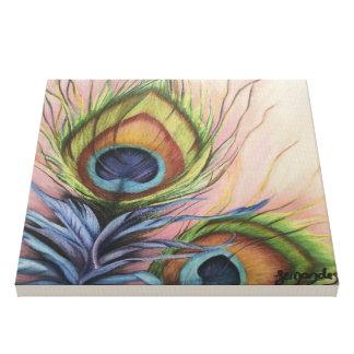 Impressão das penas do pavão em canvas