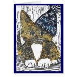 Impressão de bloco do gato do feliz ano novo cartão