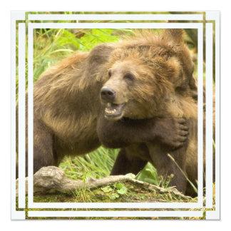 Impressão de combate dos ursos convite quadrado 13.35 x 13.35cm