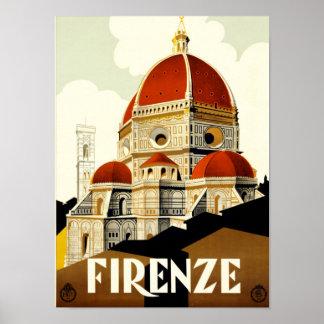 Poster Impressão de Firenze Italia das viagens vintage