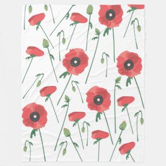 Impressão de florescência do campo da papoila cobertor de lã