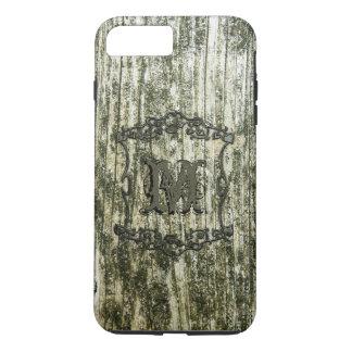 Impressão de madeira verde do monograma capa iPhone 7 plus
