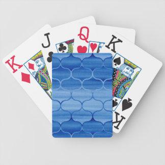 Impressão de Ogee da aguarela azul Teste-Grande Baralhos De Pôquer