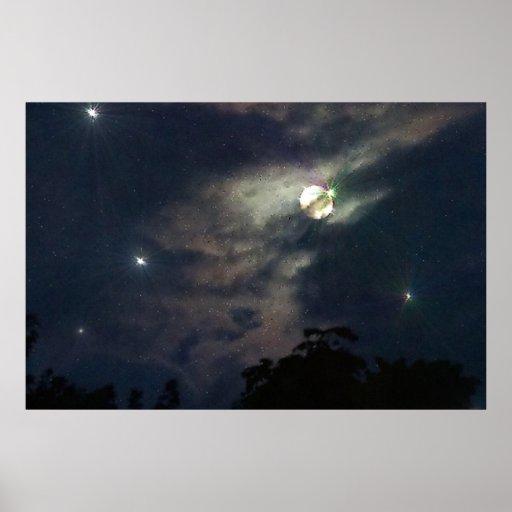 Impressão de Photograhy das estrelas da lua do céu