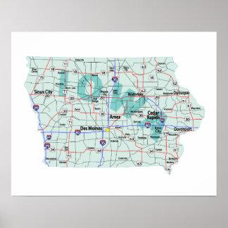 Impressão de um estado a outro do mapa de Iowa