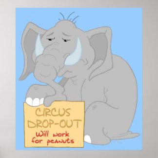 Impressão desempregado do poster do elefante do