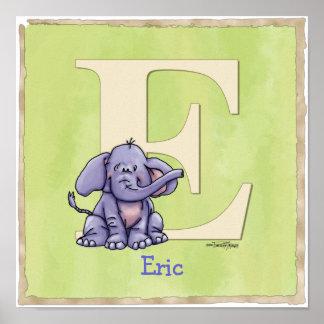 Impressão do alfabeto do elefante