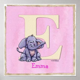 Impressão do alfabeto do poster do elefante