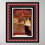 Impressão do art deco de Teatro REGIO Torino do po