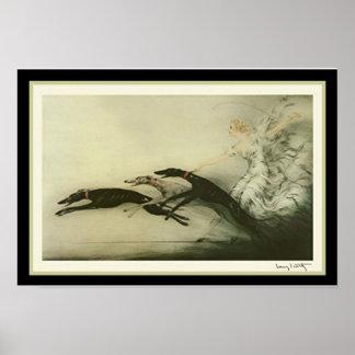 Impressão do art deco dos galgos de Louis Icart