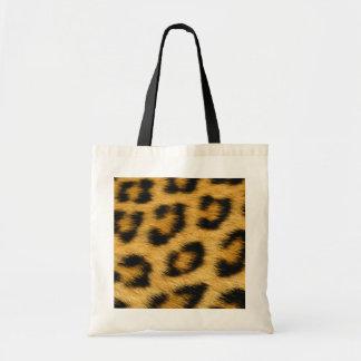 Impressão do cabelo da pele do leopardo bolsa tote