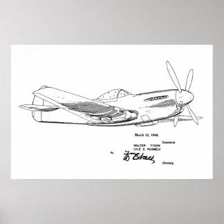 Impressão do desenho da arte da patente do avião