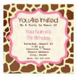 Impressão do girafa & convite de aniversário cor-d
