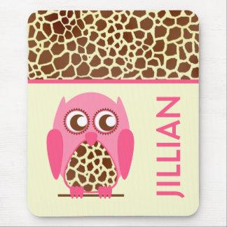 Impressão do girafa & coruja cor-de-rosa Mousepad