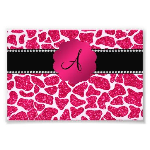 Impressão do girafa do brilho do rosa quente do fotografias