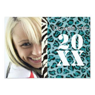 Impressão do leopardo da zebra, anúncio da convite 12.7 x 17.78cm