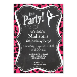 Impressão do leopardo do rosa quente; Dançarino de Convite