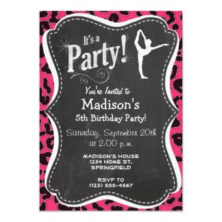 Impressão do leopardo do rosa quente; Dançarino de Convite 12.7 X 17.78cm