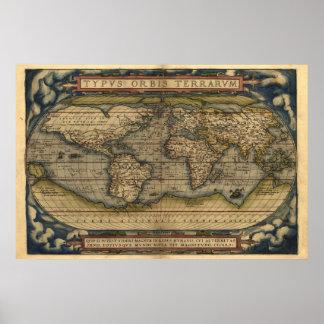 Impressão do mapa do atlas de mundo do vintage