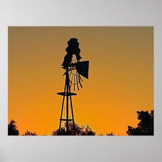 Impressão do moinho de vento do estilo antigo