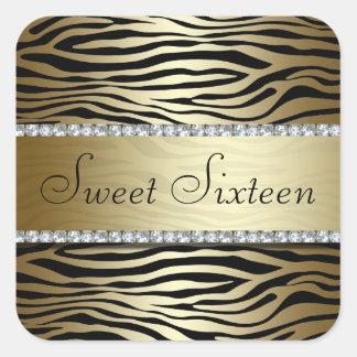 Impressão do ouro da zebra com etiqueta das jóias adesivo quadrado