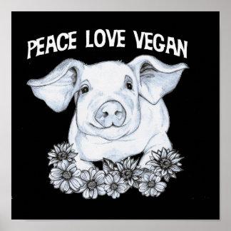 Impressão do porco do Vegan do amor da paz