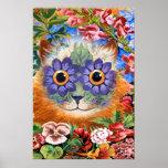 Impressão do poster da arte do gato da flor de Wai