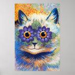 Impressão do poster da arte do gato de flower powe