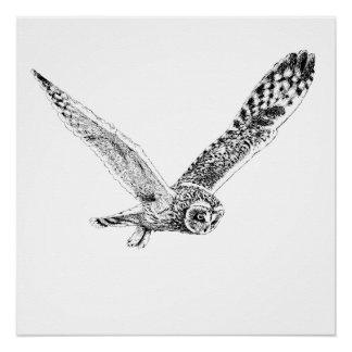 Impressão do poster da ilustração da coruja do vôo poster perfeito