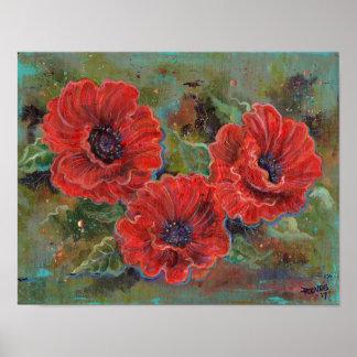 impressão do poster das flores da papoila por