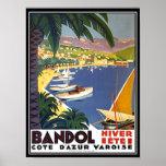 Impressão do poster de viagens de Bandol Cote d'Az