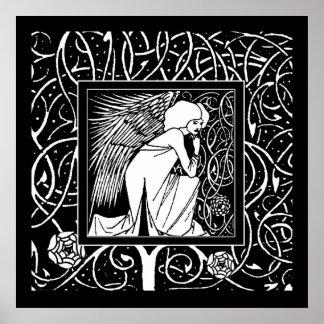 Impressão do poster do anjo de Beardsley Nouveau