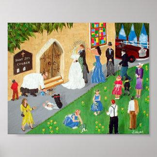 Impressão do poster do dia do casamento grande