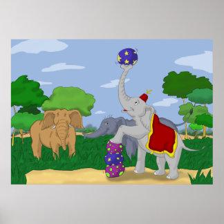Impressão do poster dos desenhos animados do elefa