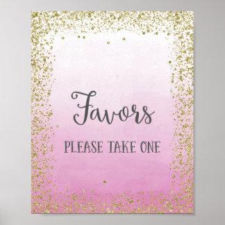 Impressão do poster dos favores do casamento